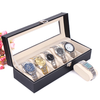 2014 Free Shipping 1PCS 6 Grid Black Leather Watch Display Slot Case Box Jewelry Storage Organizer