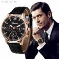 New 2016 Fashion relogio masculino Reloj Watch Men  Retro Design Leather Band Analog Alloy Quartz Wrist Watch 1229d40