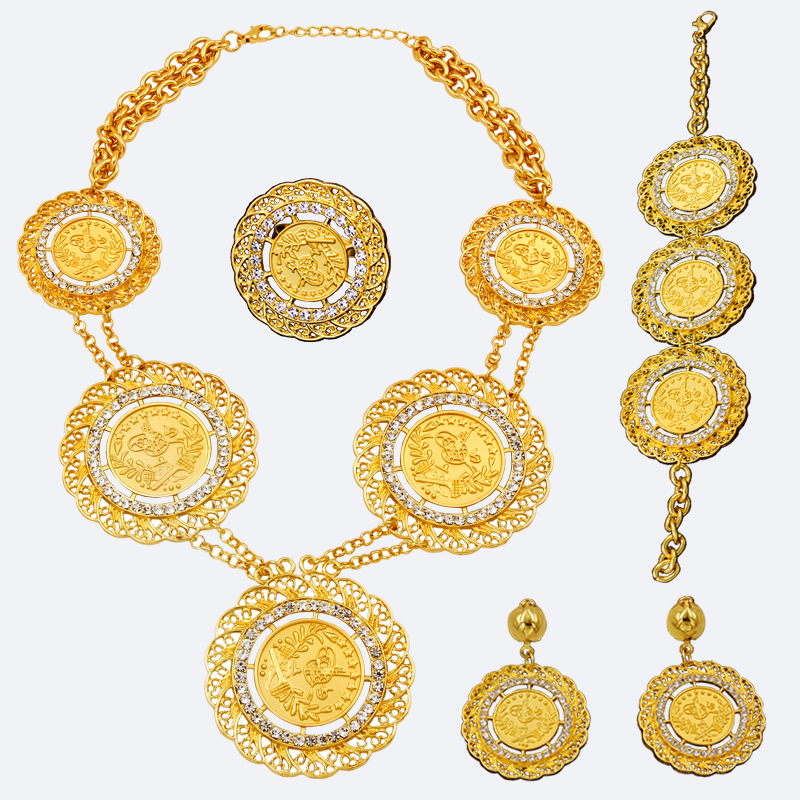 AAAAAA High Quality Dubai Bridal Jewelry Sets Abaya Coin Necklace Women Gold Crystal African Wedding Costume Ring Earrings Set