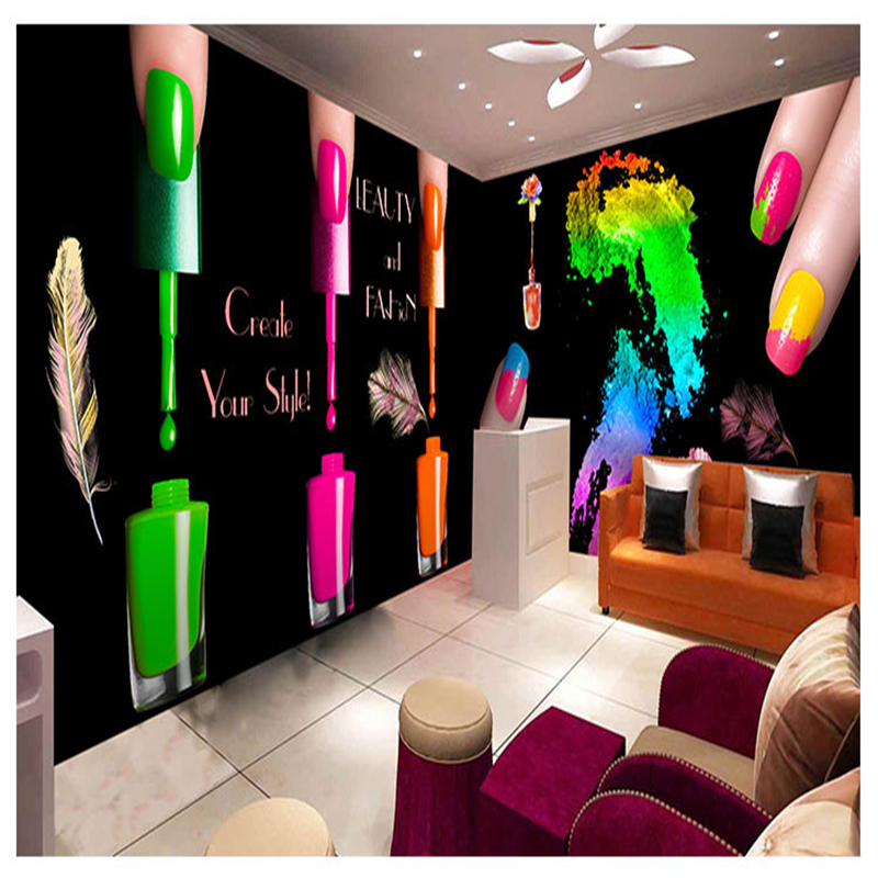 Europe and the United States personalized 3D nail polish watercolor graffiti wallpaper beauty salon makeup nail shop background  shelf