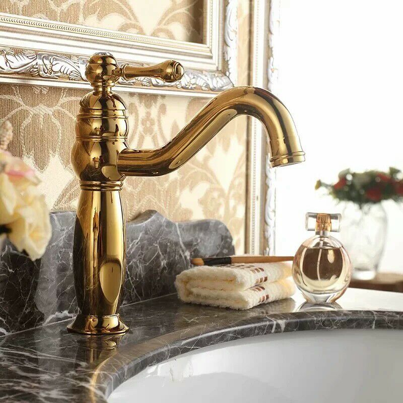 polished Gold solid brass Bathroom Sink Faucet mixer tap Single hole Deck mounted free shipping single handle high end bathroom faucet flg100172 deck mounted mixer solid brass crane curved gold sink mixer