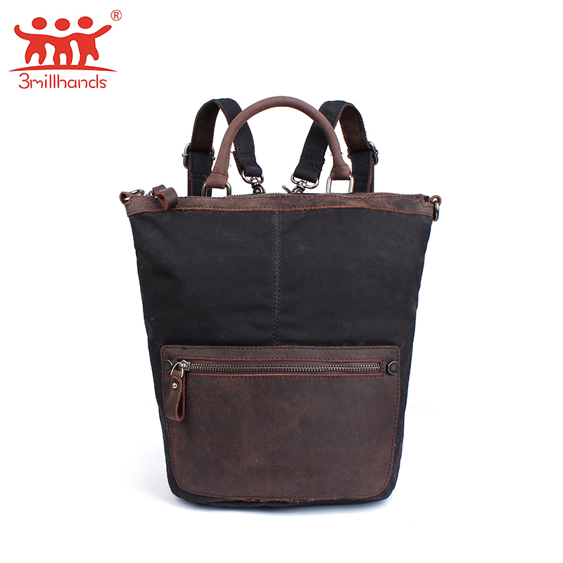 Brand vintage wax canvas shoulder bags for male travel bag high quality men casual men backpack bucket satchel