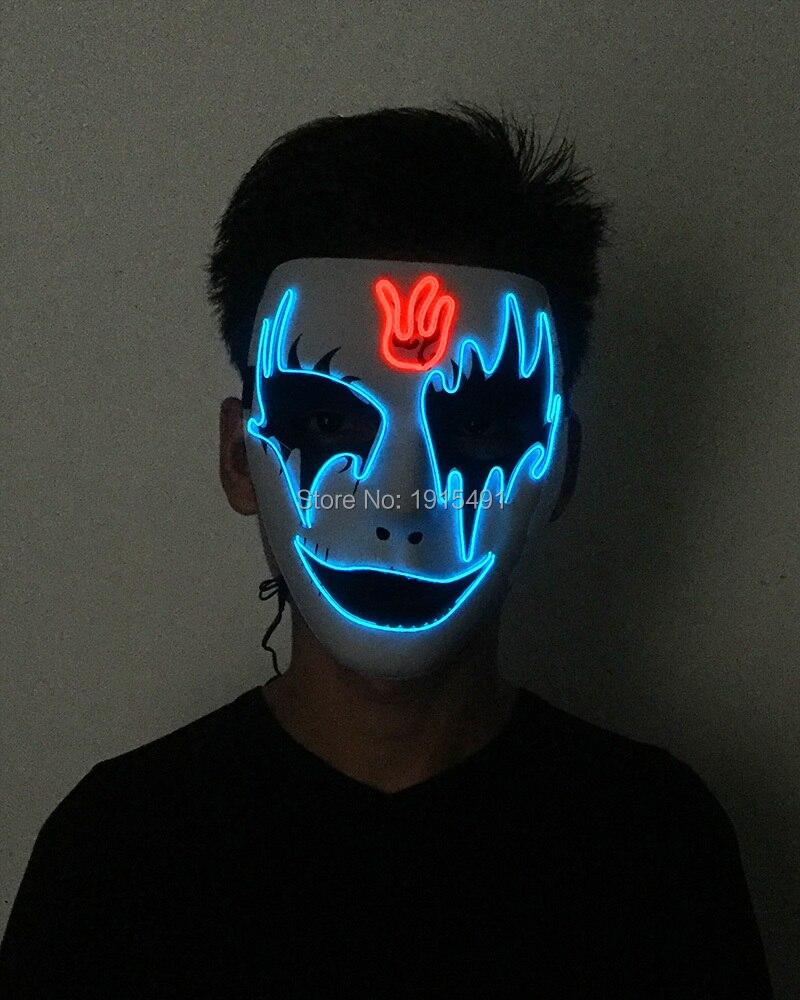 Attrayant saint valentin brillant EL câble métallique magnifique masque Fluorescent néon Led bande double couleurs masque coloré comme cadeaux d'événement