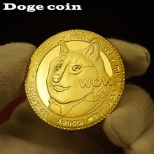1 шт. 999 Позолоченные памятные монеты Dogecoin с милым рисунком собаки коллекционные монеты на год