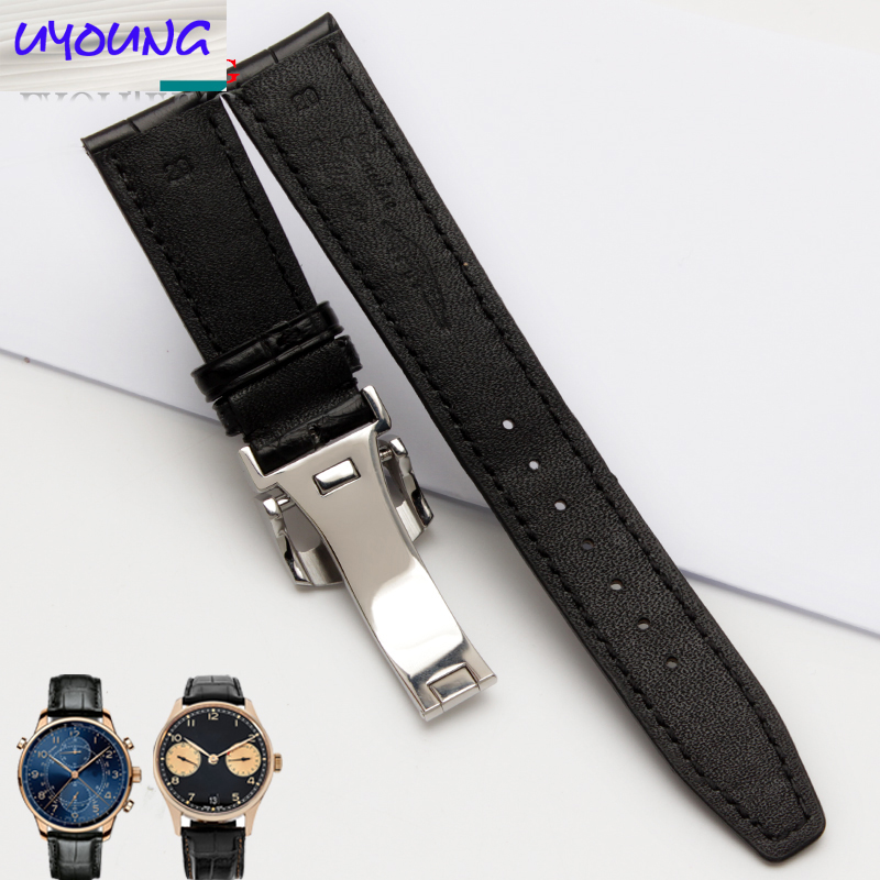 Uyoung bracelet de montre bracelet Alligator Adaptation iw371446 20mm + peau de crocodile naturel outils gratuits - 3