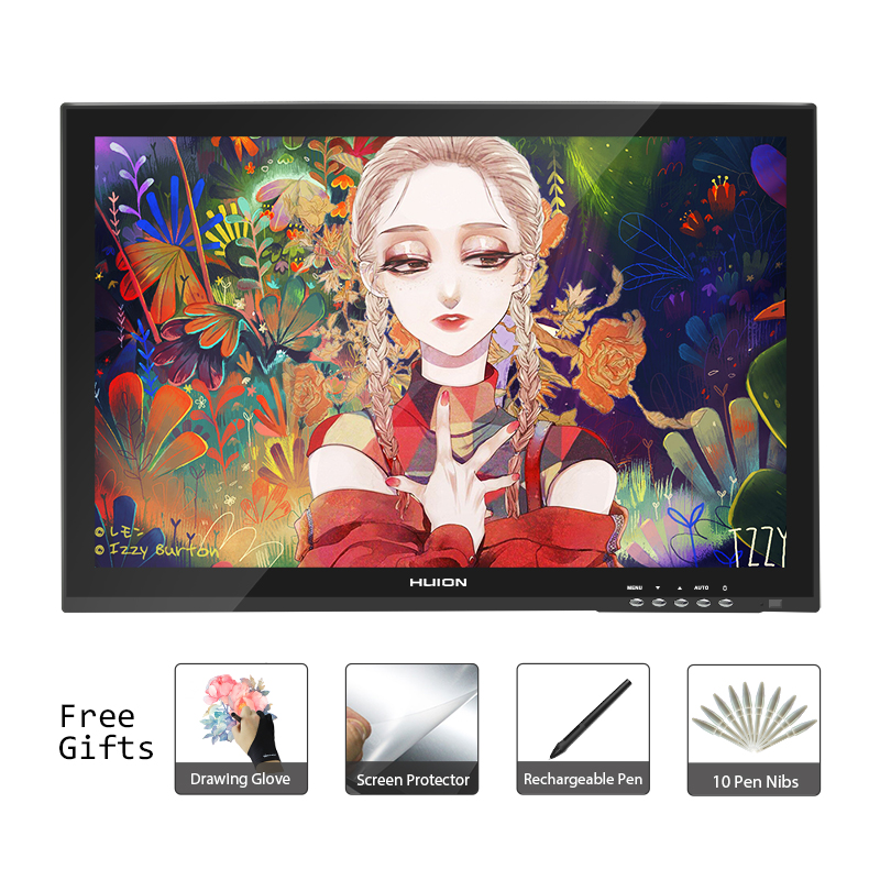 Huion GT-190 18.95inch Professtional Pen Tablet Monitor Art Graphics Drawing Pen Display Monitor with Free Gifts new huion gt 185 pen display tablet monitor graphics monitor digital drawing lcd monitors with gift free shipping