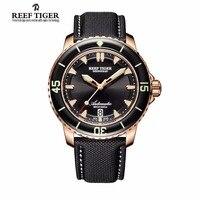 שונית טייגר/RT Mens צלילה שעונים עם תאריך אוטומטי ניילון סופר זוהר רצועת רוז זהב שעונים RGA3035