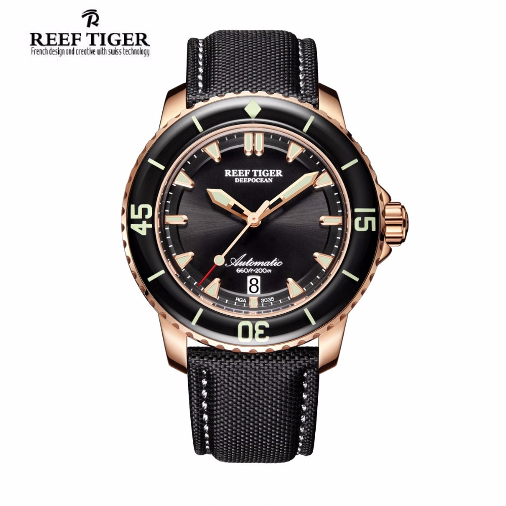 Reef Tiger/RT Mens Dive Watch with Date Super Luminous Automatic Nylon Strap Rose Gold Watches RGA3035