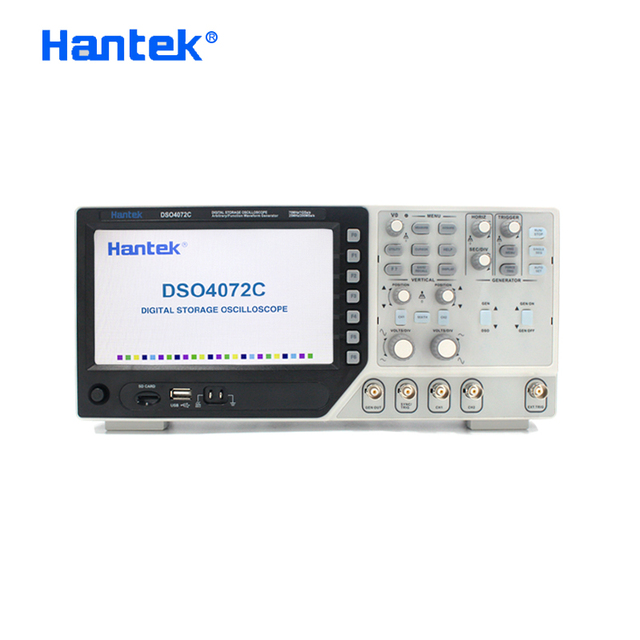 Hantek официальный осциллограф DSO4072C 2 канальный 70 мгц цифровой осциллограф с 1 канальным произвольно/функциональным генератором сигналов