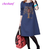 New Korean Style Top Quality Vestidos Plus Size Vintage Embroidery Long Sleeve Cotton Dresses Womens Loose