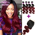 8A Ombre Brazilian Virgin Hair Body Wave 3/4 Bundles With Closure 99J Red Hair Weave Burgundy Ombre Brazilian Hair With Closure