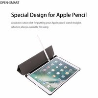 Brief Solid Ultra Slim Faux Leather Flip Folio Stand Case Auto Sleep Wake Cover With Pencil