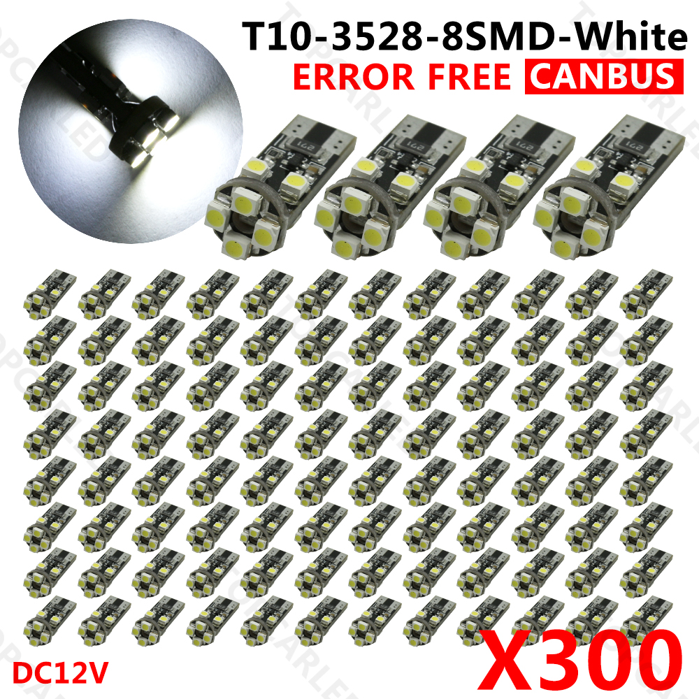 300pcs/Lot canbus T10 8 SMD 3528 LED Canbus No OBC Error 194 168 W5W T10 8SMD LED Interior Instrument Light bulb lamp White philips gc8735 80