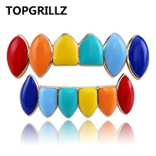 TOPGRILLZ Hip Hop Gold Tekashi69  Rainbow Teeth Grillz Top&Bottom Colorful Grills Dental Halloween Vampire Teeth curve bottom side slit hip hop longline tank top