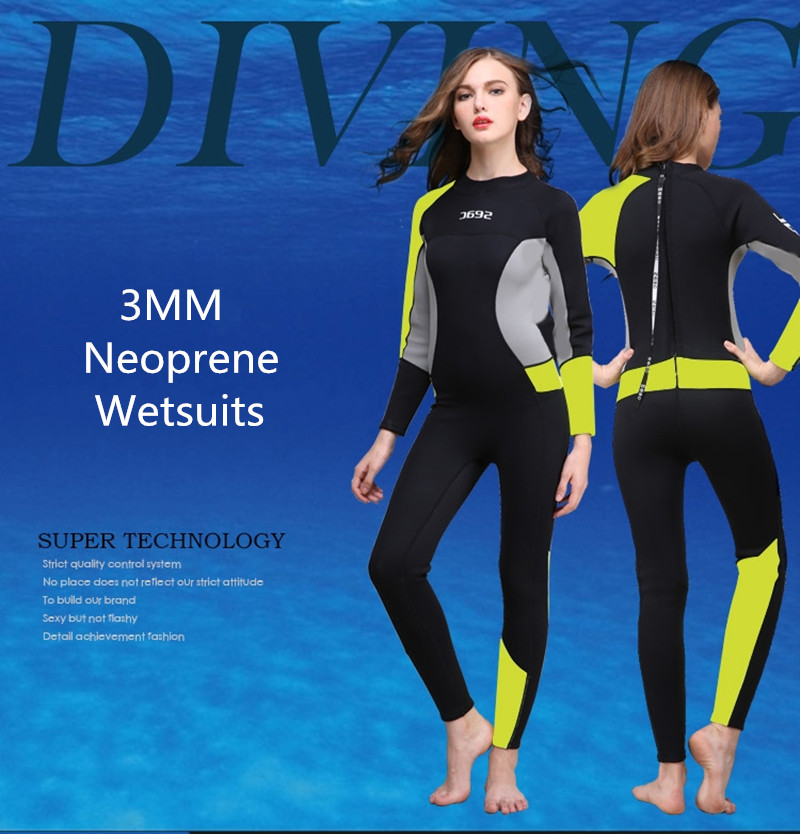 3MM Neoprene Wetsuits Women One-piece Thicken Swimsuit Long Sleeve Diving Swimming Surfing Suit цена