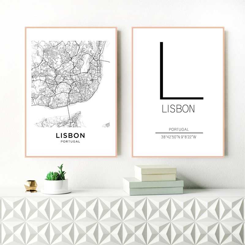 Lisbon City Map Poster Art Decor Canvas Prints , Black And White Portugal Lisbon Canvas Painting Wall Pictures Modern Home Decor