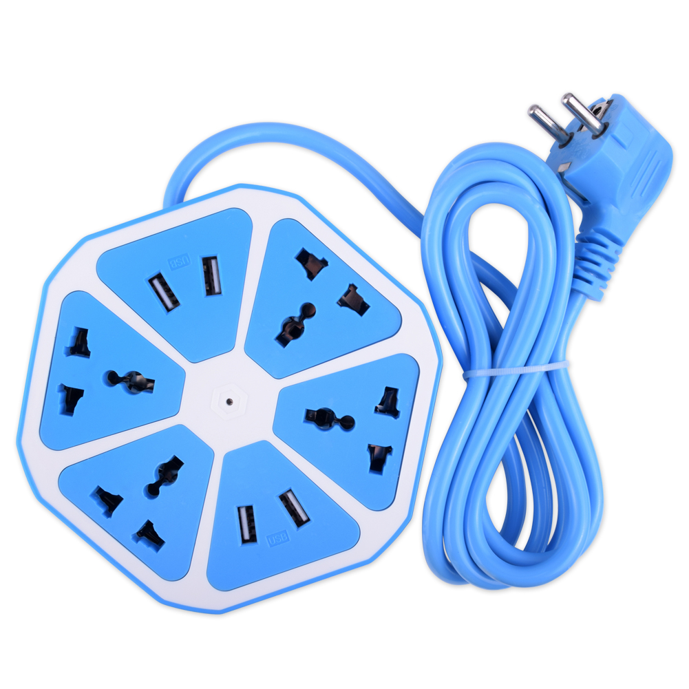YCDC Extended Powercube USB Socket EU Plug 4 Outlets 4 Ports Power Adapter Extension Cable Multi