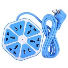YCDC Extendida Powercube Toma USB Enchufe de LA UE 4 Outlets 4 Puertos Adaptador de Corriente Cable de Extensión de Múltiples Interruptor Regleta de Enchufes de LA UE