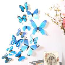 Hot sales Wall Sticker 12Pcs Double layer 3D Butterfly PVC on the wall Home Decor Butterflies for decoration Fridge stickers(China)