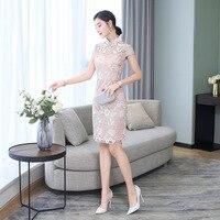 Chinese Traditional Short Cheongsam Women Lace Qipao Prom Mini Dress Size S 2XL