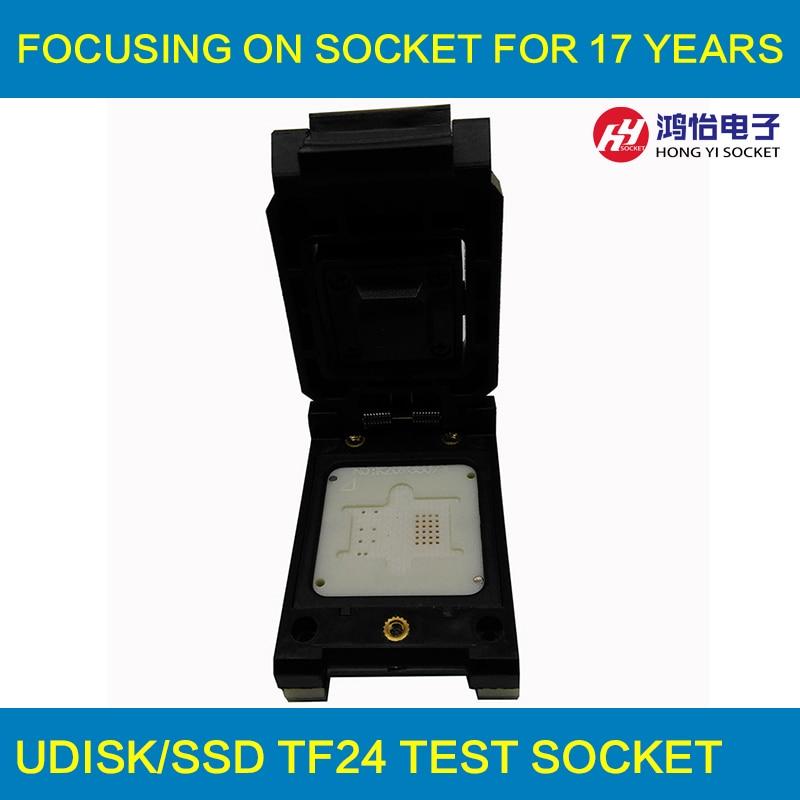 TF24 to DIP48 Pogo Pin Test Socket Flash Chip Adapter TF Clamshell Pin Test Socket TF card socket specific flash lqfp100 78k0 lg2 100gf test adapter