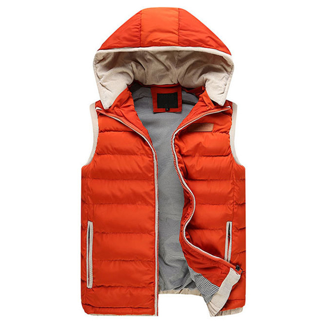 2017 Hot Sale Autumn Winter Hooded Cotton Padded Men's Vests Sleeveless Jacket Man Waistcoat Male Fashion Casual Outerwear Coat