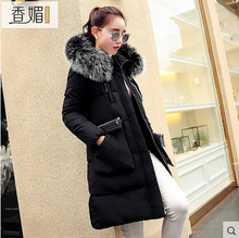 2016 new winter Thicken Warm woman Down jacket Coat Parkas Outerwear Straight Hooded fox Fur collar Luxury long plus size Loose