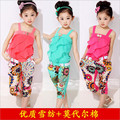 2015 new summer style girls two-piece suit printing national air chiffon Sling Shorts free shipping