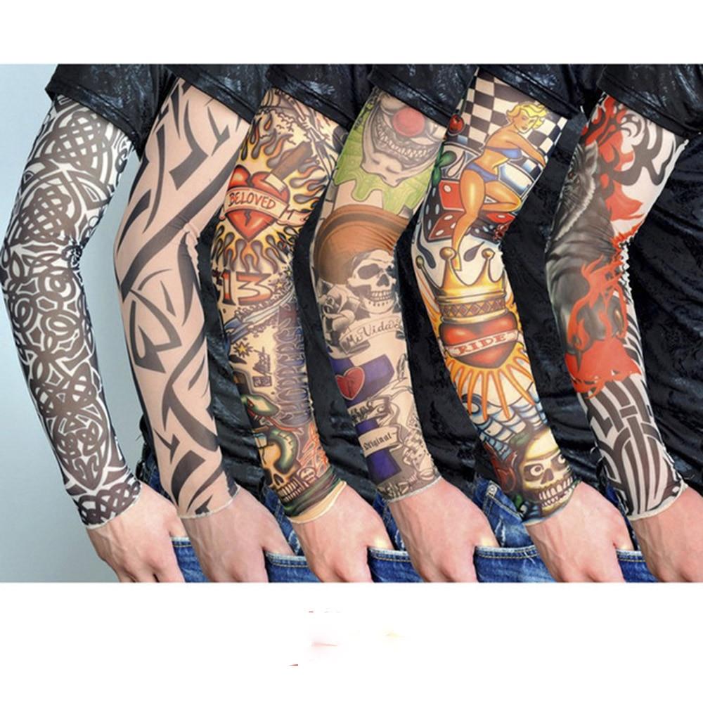 3D Printed Man Cool Fake Elastic UV Sun Protection Arm Warmers Tattoo Sleeve Hot