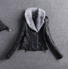 #2708 2016 Leather jacket women Black With fur collar Motorcycle Thicken short Feminino Coats Motorcycle jacket Biker jacket