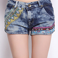 Chinese Style Casual Summer Embroidered Flower Vintage Denim Shorts For Women ,  Ladies Embroidery Jeans Shortes Free Shipping