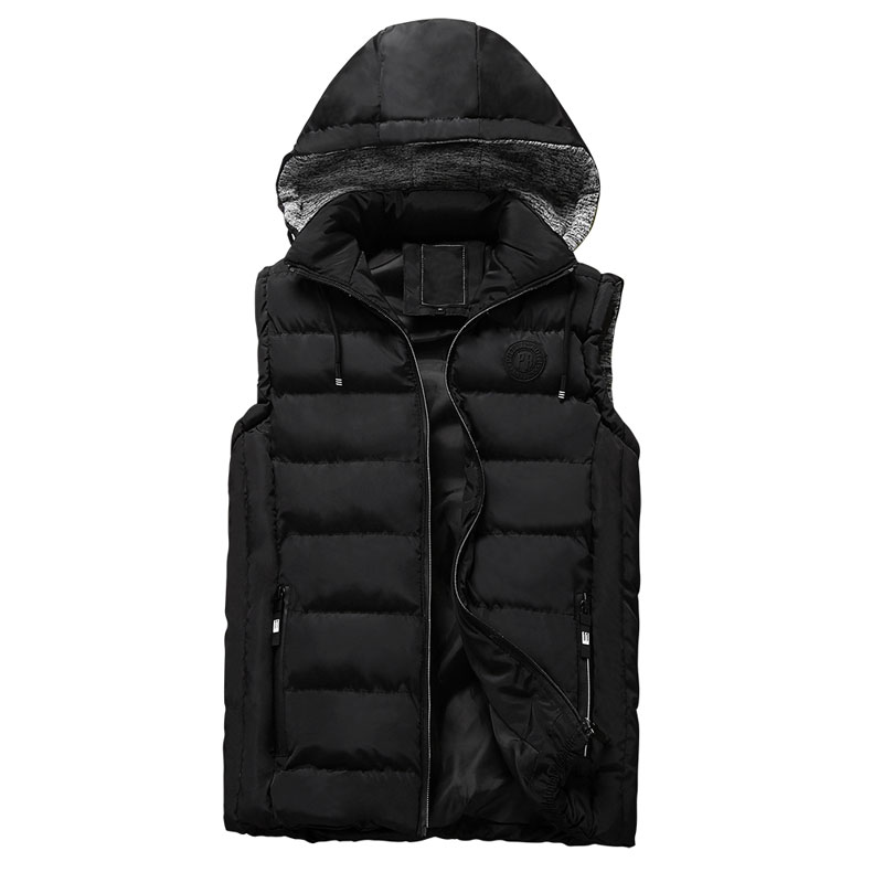 Fashion Mens Winter Vest Brand Clothes Hooded Vest Badge Design Male Fashion Cotton-Padded Waistcoat Jacket and Coat Warm Vest