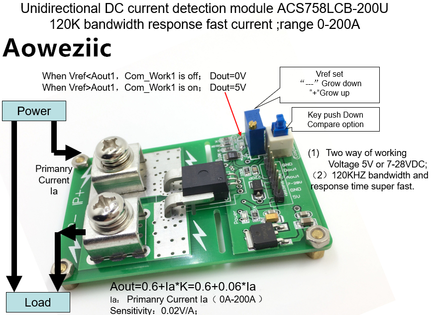 Aoweziic ACS758ECB-200B ACS758 AC/ DC detection over current protection module over current protection function Rang:-200A-200A 1pcs current detection sensor module 50a ac short circuit protection dc5v relay page 6
