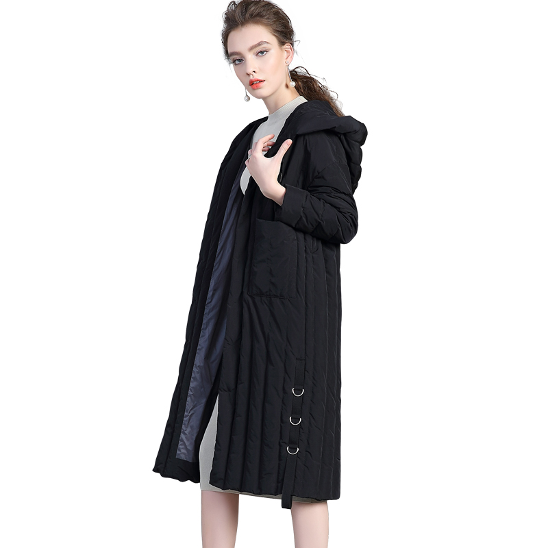 2017 new hot winter Thicker warm woman Down jacket Coat Parkas Hooded X-long Windproof plus size XL black Loose Leisure