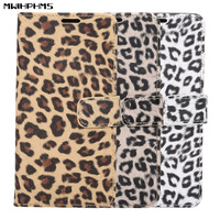PU Sexy Leopard Leather Flip Case For IPhone 5 Card Slot Wallet Holster Phone Cover For