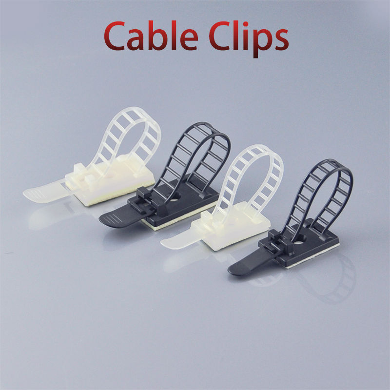 100pcs Cable Clips 18*25 Clamp For Wire Tie Cable Mount Adjustable Cable Tie Fix Holder Clips White Black 100pcs lot stainless steel cable tie 7 9x1200 for wire cable
