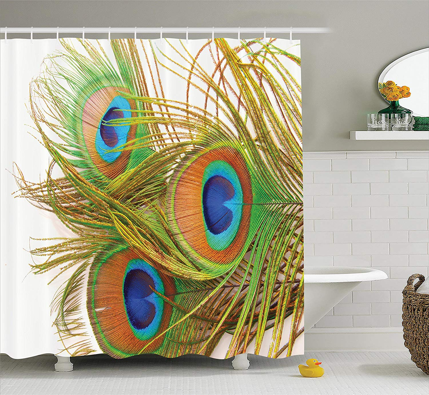 Peacock Decor Shower Curtain Peacock Feathers Modern ...