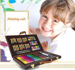 Good gift for children wooden packed with watercolor pencil +watercolor pigment+Oily crayon + brush in total 8 gifts