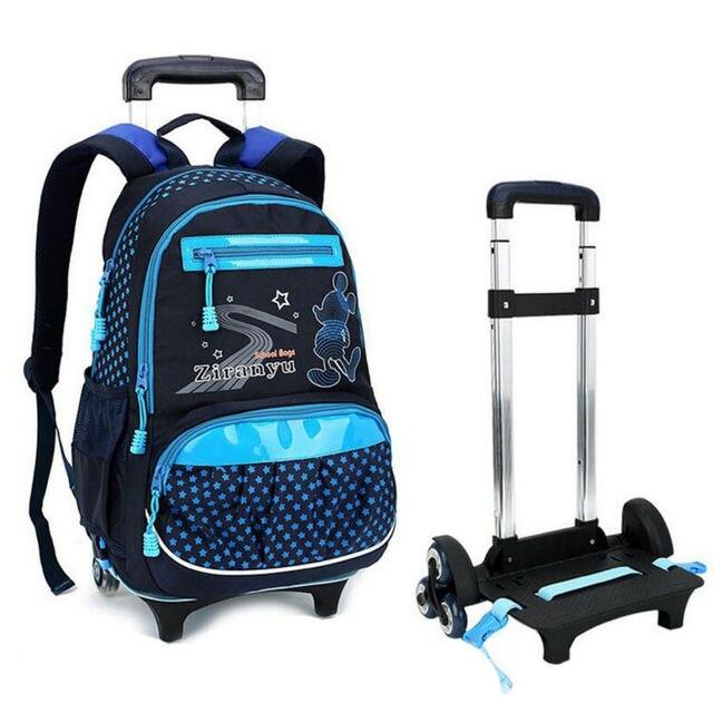 43fc109f30a Nieuwe Designer 3 Wielen Verwijderbare Kinderen School Rugzak Trolley  Tassen Hoge Kwaliteit Grote Capaciteit Kinderen Wielen
