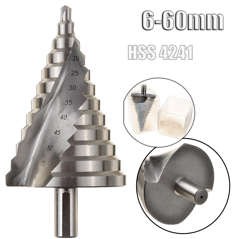6-60mm HSS 4241 Spiral Groove Flute Stepped Drill Bits 12 Steps Pagoda Effective Essential Hole Cutter Drilling Tools 13mm Shank hss step drill bits 4mm 32mm spiral groove power tools 1 4 hex shank wholesale price 15 steps metal drilling w329