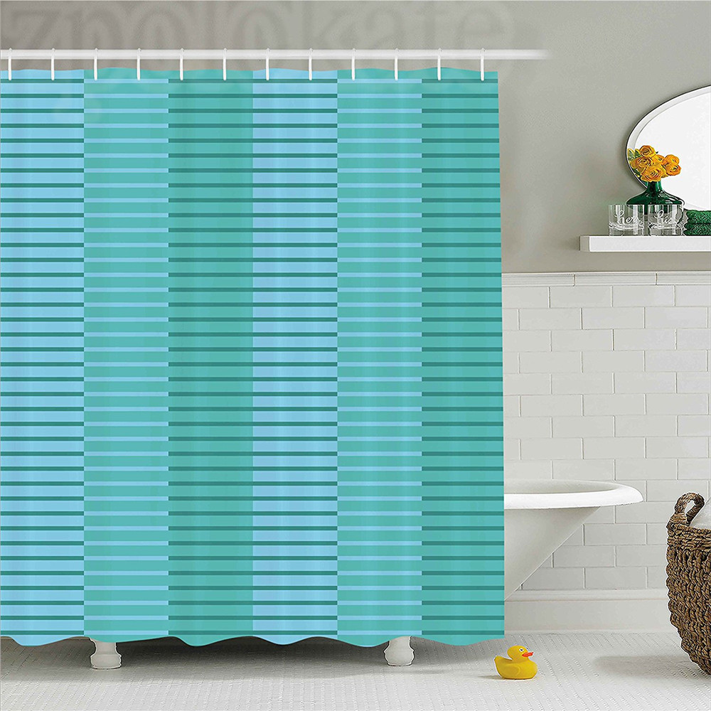 Abstract Decor Shower Curtain Abstract Stripes Pattern Digital Image in Different Style Bathroom Decor Set with Hooks Light Blu ...