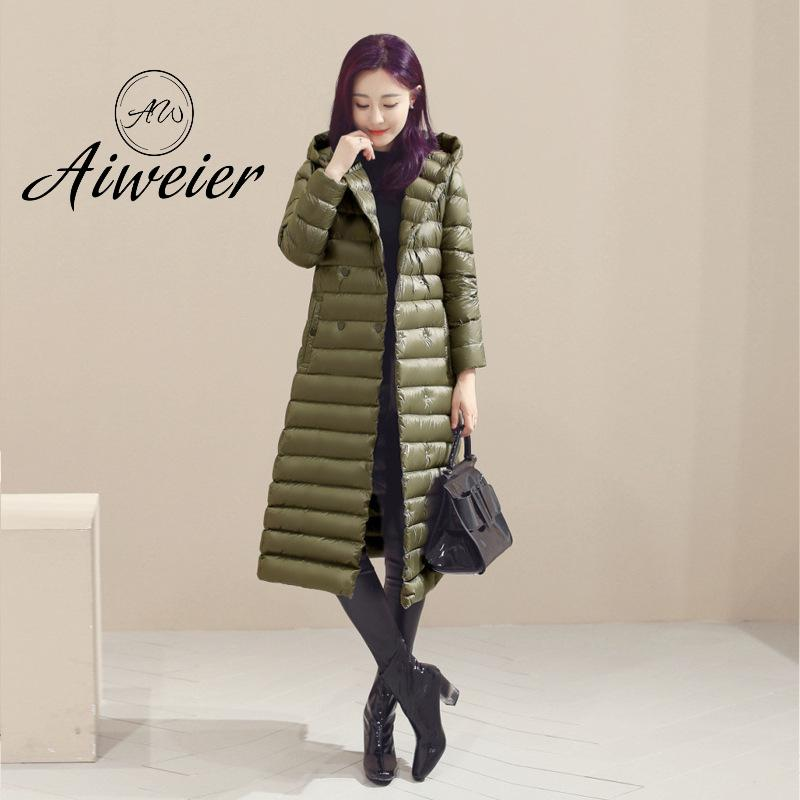[Aiweier] Down Jackets Women Hooded 2017 Autumn Winter X-Long Plus Size Double Breasted Slim Loose Solid Female Down Coats K6014
