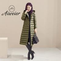 [Aiweier]   Down   Jackets Women Hooded New Autumn Winter X-Long Plus Size Double Breasted Slim Loose Solid Female   Down     Coats   K6014