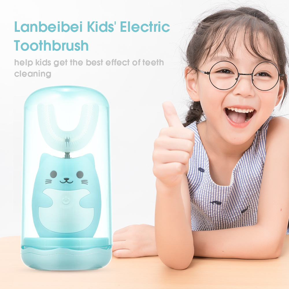 Rechargeable Toothbrush with A Cup Kids' Electric Toothbrush U Shape Smart Sonic Silicone Soft Bristles for Toddlers Oral Care image