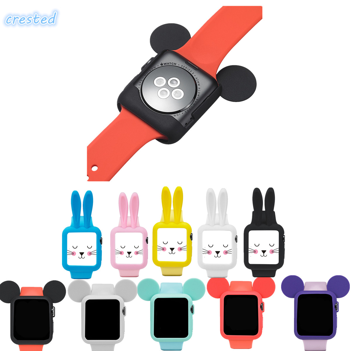 CRESTED Cute cartoon Mouse rabbit ears Soft Silicone protective for Apple Watch case iWatch 1/2 42 mm/38 Colorful cover shell 2017 new fashionable cute soft black grey pink beige solid color rabbit ears bow knot turban hat hijab caps women gifts