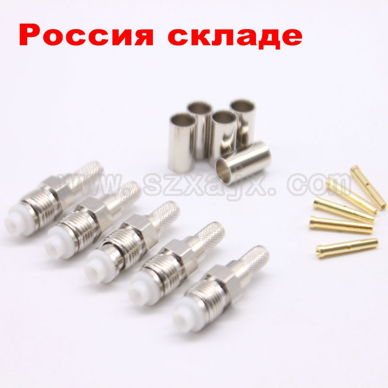 RUS Stock 100PCS FME female Jack Crimp for RG58 RG142 LMR195 RG400 Cable Straight High Quality