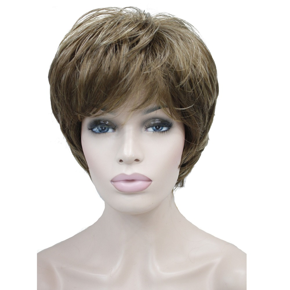 StrongBeauty Women's Wigs Natural Fluffy Ash Blonde Short Straight Hair Synthetic Full Wig 7 Color