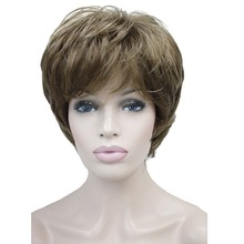 StrongBeauty Womens Wigs Natural Fluffy Ash Blonde Short Straight Hair Synthetic Full Wig 7 Color