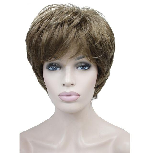 StrongBeauty frauen Perücken Natürlichen Flauschigen Asche Blonde Kurze Gerade Synthetische Volle Perücke 7 Farbe