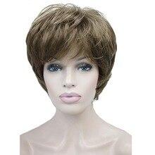 StrongBeauty נשים של פאות טבעי פלאפי אפר בלונד קצר ישר שיער סינטטי מלא פאה 7 צבע